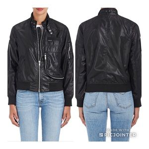 Members Only Faux Leather Bomber Jacket Sz XS
